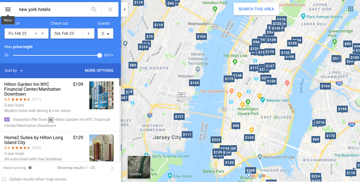 Google hotel ads for New York City in Google Maps