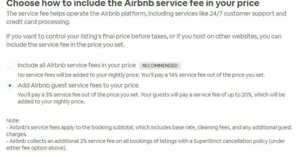 airbnb commission changes