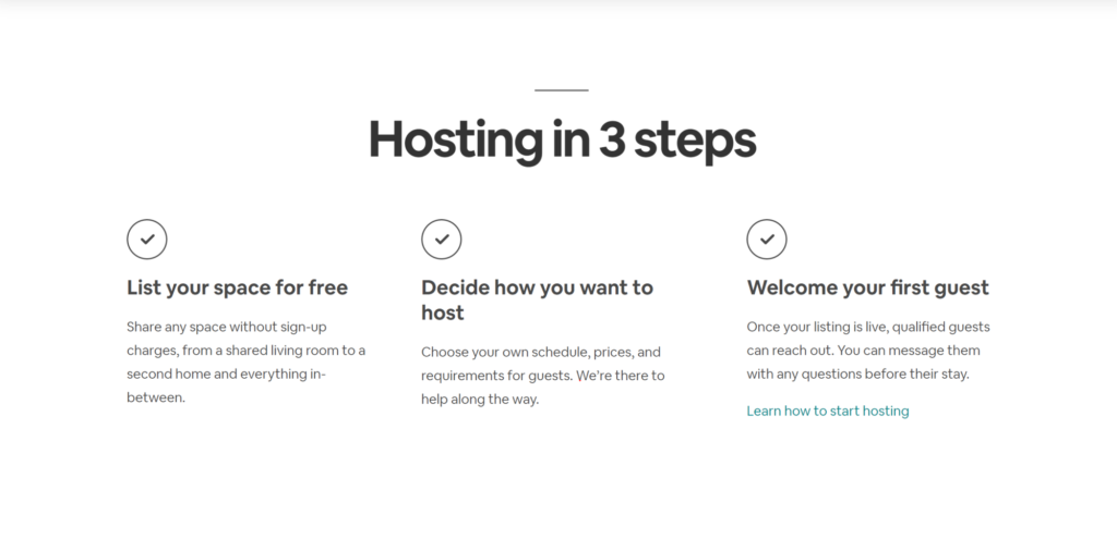 How Airbnb pitch getting started on their site... it's a little more complicated but not by much