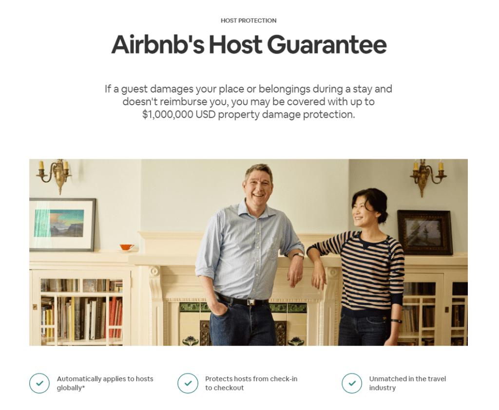 Airbnb Host Guarantee home page with a couple smiling