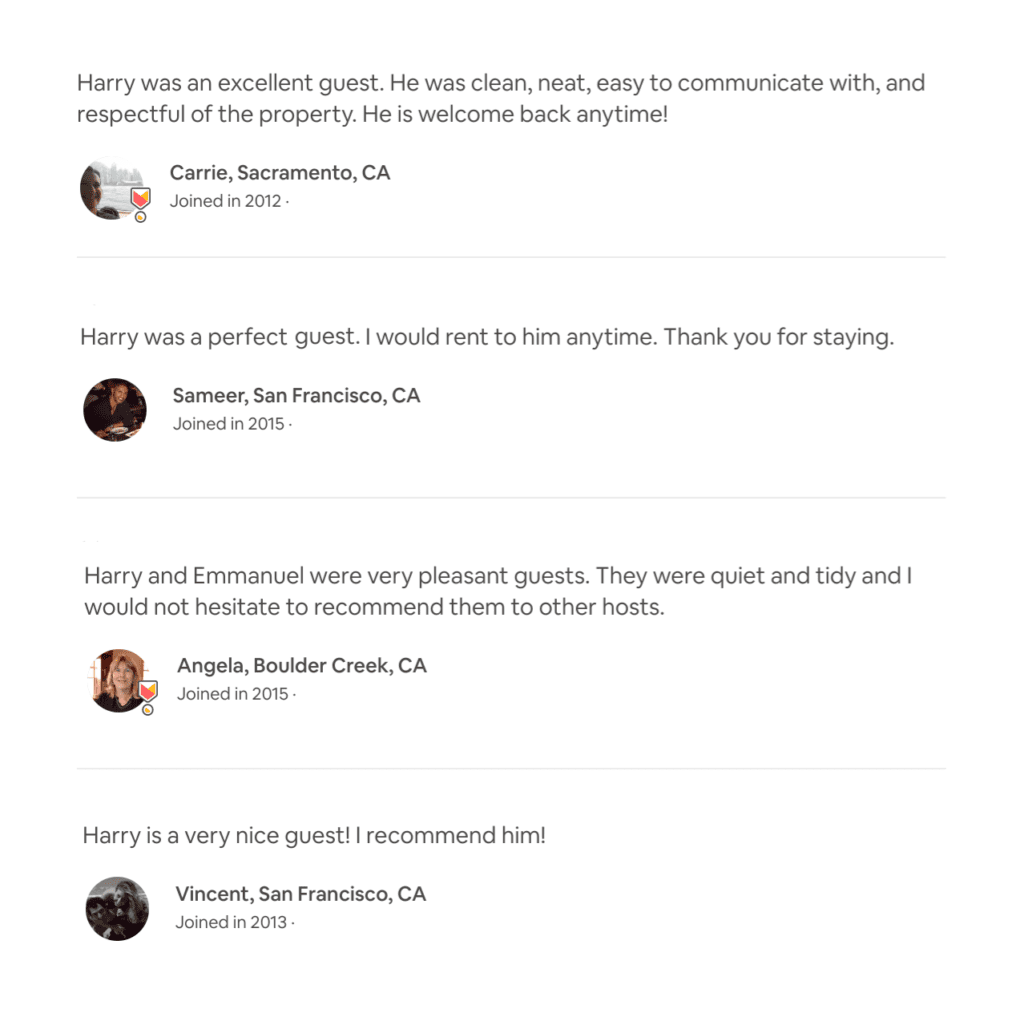 Screenshot of Airbnb Host Reviews on a guest's profile page