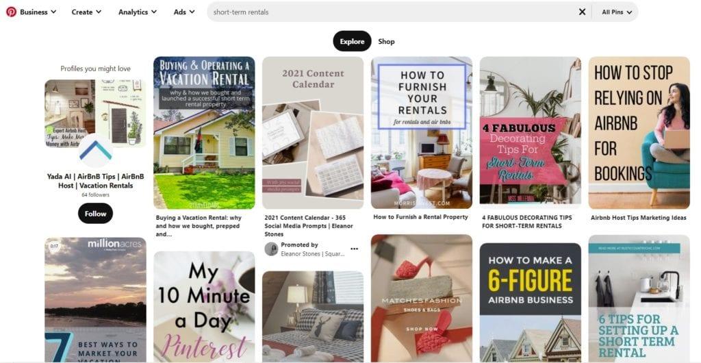 Pinterest screenshot short term rentals
