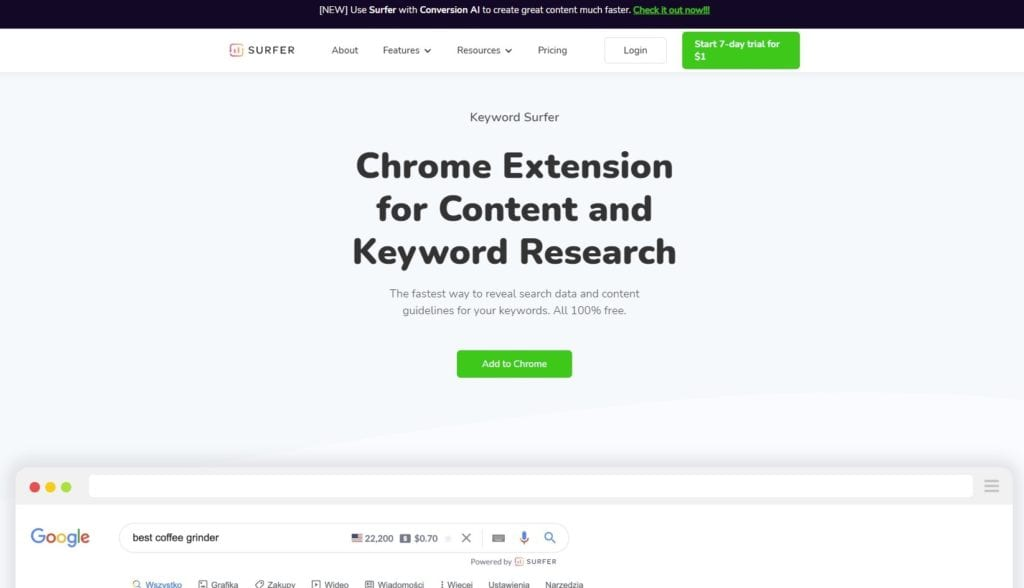 keyword surfer chrome extension screenshot