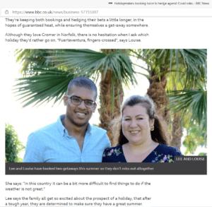 Screenshot BBC article