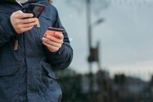 credit card phone man