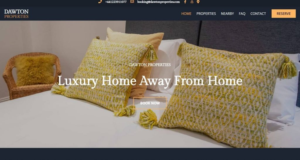 Serviced accommodation website